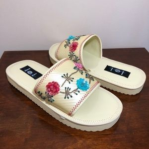 lei cream floral sequin & beaded slide on sandals